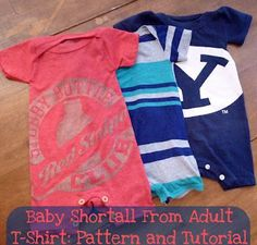 Take your old tees and stitch them into little onesies for baby! Tutorial and pattern from Heather at Feathers Flights