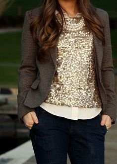 Shop this look on Lookastic:  http://lookastic.com/women/looks/tank-dress-shirt-pearl-necklace-blazer-jeans/8513  — Gold Sequin Tank  — Beige Dress Shirt  — White Pearl Necklace  — Dark Brown Check Blazer  — Navy Jeans