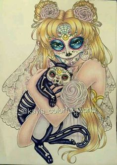 Sugar Skull Serenity by Kirrakashawn on DeviantArt Serena Sailor Moon, Sailor Moon Art, Sailor Moon Halloween, Princesa Serenity, Neo Queen Serenity, Sailor Moon Character, Moon Princess, Sketch Painting, Sailor Scouts