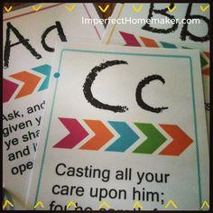 Printable ABC Bible Memory Verse Cards that are perfect for preschoolers! Preschool Bible, Bible Activities, Preschool Activities, Free Preschool, Educational Activities, Abc Bible Verses, Children's Bible, School Fun, Sunday School
