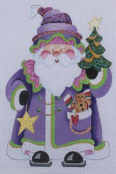 Strictly Christmas Santa Claus Purple Coat Gold Star HP Needlepoint Canvas Santa Cross Stitch, Cross Stitch Bookmarks, Cross Stitching, Cross Stitch Embroidery, Cross Stitch Patterns, Cross Stitch Christmas Ornaments, Christmas Cross, Needlepoint Patterns, Needlepoint Canvases