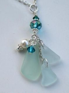 Sea Glass Necklace Sea Glass Jewelry Aqua by beachglassgonewild by Melbly