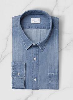 Chemise col français - Denim de coton lavé - Bleu denim