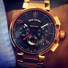 gqfashion: LOUIS VUITTON GMT chrono in pink gold. A spanking new Stunner for 2013. TS