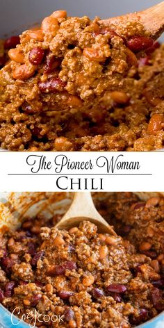 Pioneer Woman Chili - This hearty chili recipe has a perfect blend of seasonings, ground beef, and beans. It's Stove To -The Pioneer Woman Chili - This hearty chili recipe has a perfect blend of seasonings, ground beef, and beans. Best Chili Recipe, Chilli Recipes, Mexican Food Recipes, Soup Recipes, Dinner Recipes, Cooking Recipes, Healthy Recipes, Fire Chili Recipe, Stove Top Chili Recipe