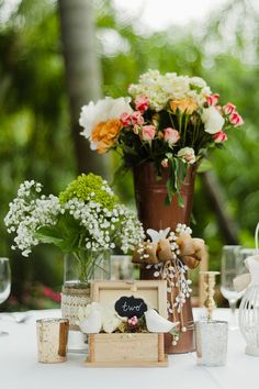 vintage table decor // photo by Merari Photography // http://ruffledblog.com/dominican-american-backyard-wedding