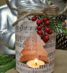 40 Mason Jar crafts for Christmas DIY Sheet Music Mason Jar Christmas Candle Christmas Mason Jars, Christmas Candles, Noel Christmas, Homemade Christmas, Rustic Christmas, Christmas 2017, Nordic Christmas, Magical Christmas, Modern Christmas