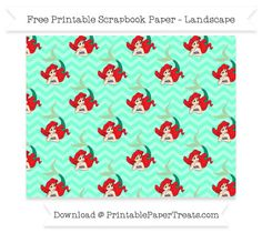 FreeAquamarine Chevron Large Ariel Pattern Paper - The Little Mermaid