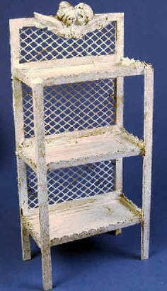 Etagere - distressed - $53.00 : S P MINIATURES - hand crafted dollhouse miniatures, S P MINIATURES - shop online for hand crafted dollhouse miniatures from many artisans and countries