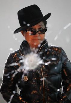 "Artist Yoko Ono stands in front of her piece ""A Hole"" ahead of the opening of her art installation """