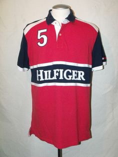 8527db1983f Mens Tommy Hilfiger Custom Fit Short Sleeve Cotton Polo Rugby Shirt sz XL  Workout Shorts