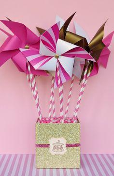 DiY Pinwheels but in pastel theme colors: mint, orange, pink, yellow