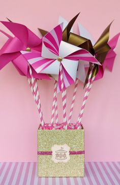 DiY Pinwheels but in pastel theme colors: mint, orange, pink, yellow