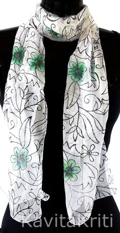 Indian Block print. Indian Silk Scarves. Hand Blocked Floral Scarf by KavitaKriti, $40.00  https://www.etsy.com/listing/180888138/indian-block-print-indian-silk-scarves?ref=shop_home_active_8