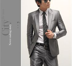 men suit (jacket+pants+tie) casual formal wedding party groom prom Groomsmen singer male outfit Business casual dress
