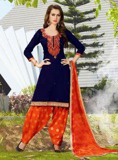 Navy Blue Cotton Punjabi Suit 91194