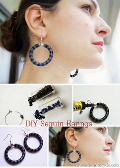 DIY Sequin Earrings Tutorial from Wardrobe Recycle here.When I was really young I made sequin necklaces because they were so cheap and easy...