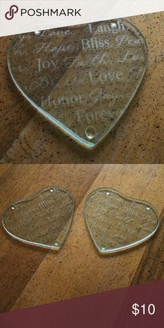 2 glass coasters Beautiful heart shaped coasters. Covered with beautiful writing Other