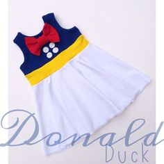 Donald Duck Sailor Inspired Children's Disney Dress! Tank Top Circle Skirt Dress. Minnie, Mickey, Daisy Birthday, Girls, Toddler Infant by TheGypsyGeek on Etsy https://www.etsy.com/listing/278881340/donald-duck-sailor-inspired-childrens