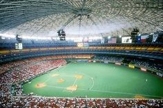 "Houston Astrodome 1966-1999""Eighth Wonder of the World"" was one of the most imposing old baseball stadiums in history,but outfielders lost fly balls against the glass panel roof. Painting roof panels caused  grass to die and a fake grass carpet had to be installed (""Astroturf introduced 1966)  Then on 6.10,74 Mike Schmidt crushed a would-be home run that hit a public address speaker mounted 117 high and 329 feet from home plate--a potential 500-foot blast relegated to a single to center…"