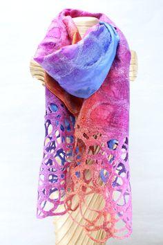 Felted Scarf with Net Detail - Multi Coloured - Kate Ramsey - Irish Designer – Forget Me Not Craftshop Nuno Felt Scarf, Wool Scarf, Felted Scarf, Clothing Boxes, Made Clothing, Nuno Felting, Needle Felting, Felt Brooch, Felt Art