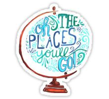 Oh The Places You'll Go - Vintage Typography Globe Sticker