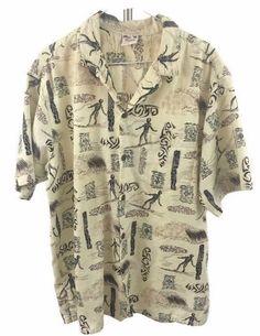 Men's Hawaiian Tiki Waves Surfer Shirt XL Hawaii Button Front Aloha Go Barefoot #GoBarefoot #Hawaiian