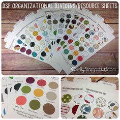"""The perfect DSP Organizer Sheets! Tabs for easy storage making your DSP """"easy to find"""" (either stacked on a rack or in vertical storage) and also serves as a valuable resource sheet with DSP swatches and coordinating color swatches! Stampin' Up! Craft Room Organization."""