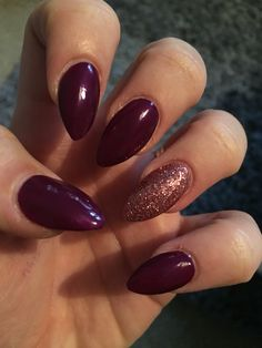 Autumn burgundy bronze glitter stiletto nails