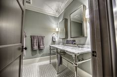 """The paint color is Benjamin Moore 2137-50 """"Sea Haze"""" in an eggshell finish."""