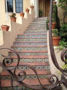 Backyard Tile, Mexican Tiles, Spanish Tile, Spanish Revival, Tile Stairs, Spanish Miss Style, Spanish Style Homes, Mexicans Tile