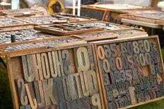 Vintage printing press letters