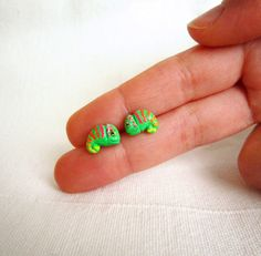 Neon Earrings, Tiny Chameleon stud earrings made from polymer clay