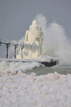Lighthouse iced over.