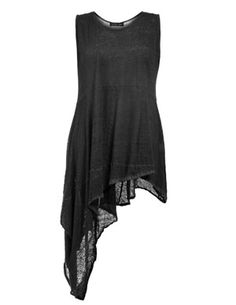 Handkerchief hem linen top in Black designed by Barbara Speer to find in Category Tops at navabi.de