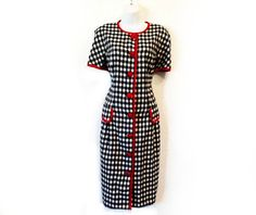 Vintage 1980s Houndstooth Dress Black and White Pencil by KMalinka, $85.00