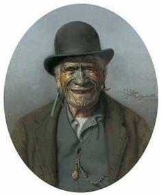 "One of the paintings on the staircase at my parents home.  Portrait of Te Aho-te-Rangi Wharepu, Ngati Mahuta. Also known as ""A Good Joke"""