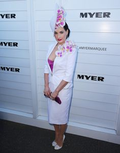 Fabulously Spotted: Dita von Teese Wearing Aurelio Costarella - Melbourne Cup Day - http://www.becauseiamfabulous.com/2013/11/dita-von-teese-wearing-aurelio-costarella-melbourne-cup-day/