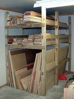 lumber storage rack construction 02 Holzaufbewahrung in der Garagge oder im Keller Blum.