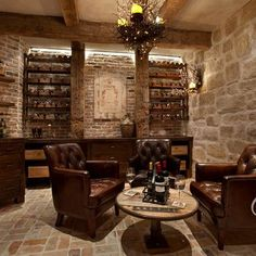 The wine room, a signature room of the house, includes wine racks - Wine room design Wine Cellar Basement, Whiskey Room, Whiskey Lounge, Home Wine Cellars, Basement Bar Designs, Basement Ideas, Modern Basement, Basement Bars, Man Cave Basement