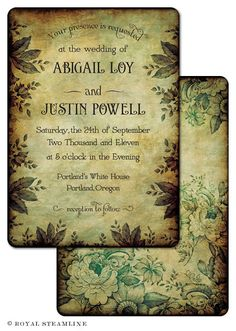 Finsbury Park  Vintage Wedding Invitation