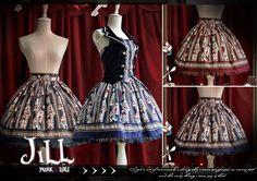 Lolita fairy cartoon poker rabbit kindergarten striped mid rise skirt ISK008 #JILL #FullSkirt