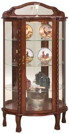 Antique Mahogany Curved Glass China Cabinet Claw by LightsAndMore ...
