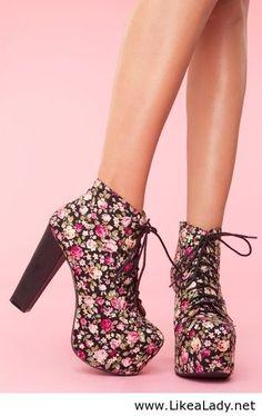 Floral platform boots