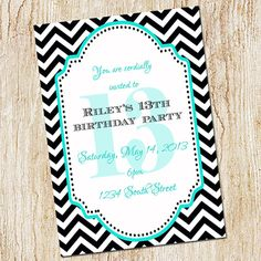 Custom printable 5x7 tween to teen girls 13th thirteen birthday 13th birthday party invitation girl birthday by peachymommy 1500 filmwisefo