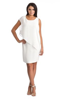 """Krystal Dress - On Sale Now! -White Lovely lines, great on """"rounder tummies, covers them up! Accessorize with the Passage Bracelet also on sale. go to http://www.mkcollab.com/profile/sharonwatkins"""