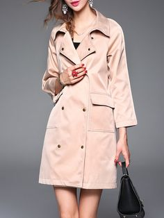 Apricot Pockets Plain A-line Simple Trench Coat
