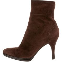 Pre-owned Sergio Rossi Ankle Boots ($175) ❤ liked on Polyvore featuring shoes, boots, ankle booties, brown, short boots, suede booties, zipper boots, suede boots and brown ankle booties