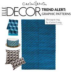 @ELLE Magazine (US) DECOR loves @Carin Schmidt Lang Carpets Hexagon rug in bright cerulean blue #graphicpattern #rugs #popart #summerblues #interiordecorating #summerrug | Contemporary carpets reviving ancient techniques | carinilang.com
