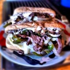 Philly Cheesesteak Sandwich with Garlic Mayo... Amazing.